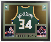 Giannis Antetokounmpo Signed Milwaukee Bucks 35x43 Custom Framed Jersey (JSA COA) at PristineAuction.com