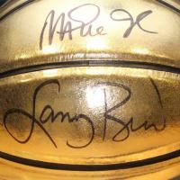 Michael Jordan, Karl Malone, Larry Bird & Magic Johnson Signed Molten Gold Trophy Basketbal (UDA COA) at PristineAuction.com