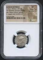 BC 81 Original Roman Republic - L. Postumius Albinus - AR Denarius Serratus Coin (NGC XF)