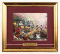 "Thomas Kinkade Walt Disney's ""Mickey & Minnie Mouse"" 16.5x18.5 Custom Framed Print"