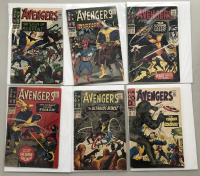 """Lot of (6) 1966 """"The Avengers"""" First Issue Marvel Comic Books with Issue #32, Issue #33, Issue #34, Issue #35, Issue #36 & Issue #37"""