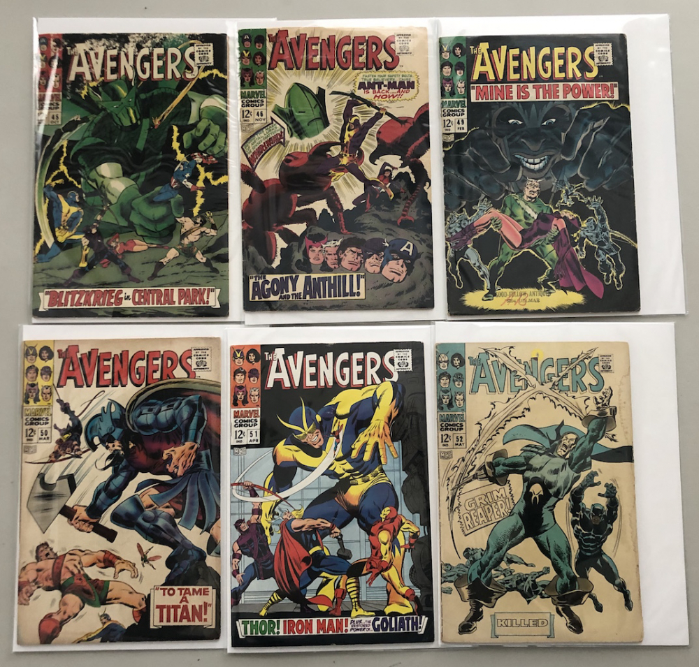 "Lot of (6) 1967-68 ""The Avengers"" First Issue Marvel Comic Books with Issue #45, Issue #46, Issue #49, Issue #50, Issue #51 & Issue #52 at PristineAuction.com"