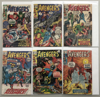 """Lot of (6) 1970-71 """"The Avengers"""" First Issue Marvel Comic Books with Issue #79, Issue #80, Issue #81, Issue #82, Issue #84 & Issue #85"""