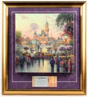 "Thomas Kinkade 50th Anniversary ""Disneyland"" 20.5x22.5 Custom Framed Canvas on Wood Display with Full Vintage Ticket Book"
