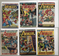 """Lot of (6) 1972 """"The Avengers"""" First Issue Marvel Comic Books with Issue #95, Issue #96, Issue #97, Issue #98, Issue #99 & Issue #100"""