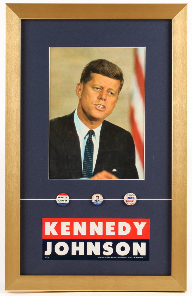 John F. Kennedy 14x22 Custom Framed Photo Display with Pins & Sticker at PristineAuction.com