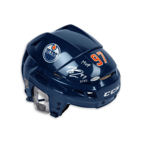 "Connor McDavid Signed Edmonton Oilers Full Size Limited Edition Helmet Inscribed ""MVP"" (UDA COA) at PristineAuction.com"
