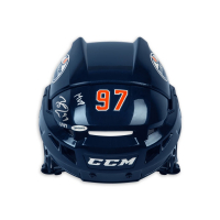 """Connor McDavid Signed Edmonton Oilers Full Size Limited Edition Helmet Inscribed """"MVP"""" (UDA COA) at PristineAuction.com"""