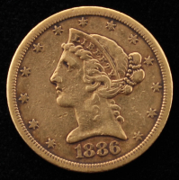 1886-S Liberty Head $5 Five Dollar Gold Coin