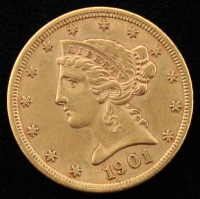 1901 Liberty Head $5 Five Dollar Gold Coin