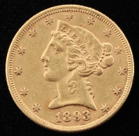 1893 Liberty Head $5 Five Dollar Gold Coin