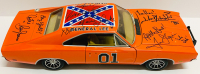 """John Schneider, Tom Wopat, & Catherine Bach Signed """"General Lee"""" Dukes of Hazzard 1/18 Die Cast Car with (3) Character Name Inscriptions (JSA COA)"""