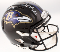 "Ray Lewis & Ed Reed Signed Baltimore Ravens Full-Size Authentic On-Field Speed Helmet Inscribed ""HOF '18"" & ""HOF 19"" (Beckett COA) at PristineAuction.com"