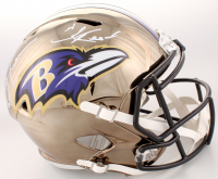 Ray Lewis & Ed Reed Signed Baltimore Ravens Full-Size Chrome Speed Helmet (Beckett COA) at PristineAuction.com