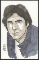 """Tom Hodges - Han Solo """"Star Wars"""" Signed ORIGINAL 5.5"""" x 8.5"""" Color Drawing on Paper (1/1)"""