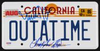 "Michael J Fox & Christopher Lloyd Signed Back to the Future ""OUTATIME"" DeLorean Prop Replica License Plate (PSA LOA)"
