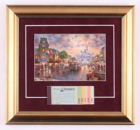 Disneyland 13.5x14.5 Custom Framed Thomas Kinkade Print Display with Vintage Ticket