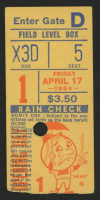 1964 Rain Check New York Mets Ticket Stub at PristineAuction.com