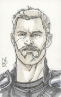 """Tom Hodges - Thor - Marvel Signed ORIGINAL 5.5"""" x 8.5"""" Color Drawing on Paper (1/1) at PristineAuction.com"""