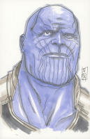 "Tom Hodges - Thanos - Marvel Signed ORIGINAL 5.5"" x 8.5"" Color Drawing on Paper (1/1)"