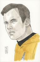 "Tom Hodges - Christopher Pike - ""Star Trek"" Signed ORIGINAL 5.5"" x 8.5"" Color Drawing on Paper (1/1)"
