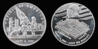 "Lot of (2) 1 Troy Ounce .999 Fine Silver ""9/11"" Commemorative Bullion Rounds"