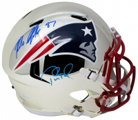 Tom Brady & Rob Gronkowski Signed New England Patriots Full-Size Chrome Speed Helmet (JSA COA & Tristar Hologram)