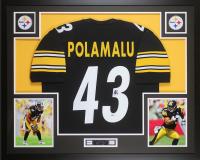 Troy Polamalu Signed Pittsburgh Steelers 35x43 Custom Framed Jersey (Beckett COA)