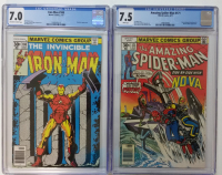 Lot of (2) CGC Graded Marvel Comic Books with 1977 The Amazing Spider-Man #171 (7.5) & 1977 Iron Man #100 (7.0)