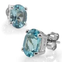 4.42 CT Swiss Blue Topaz Stud Designer Earrings