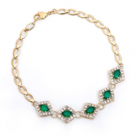 7.88 CT Emerald & Diamond Designer Bracelet