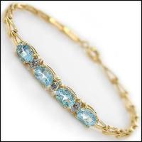 6.29 CT Blue Topaz & Diamond Designer Bracelet