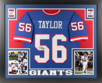 Lawrence Taylor Signed New York Giants 35x43 Custom Framed Jersey (JSA COA)