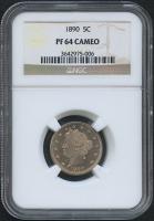 "1890 5¢ Liberty Head ""V"" Nickel - Proof (NGC PF 64 Cameo)"