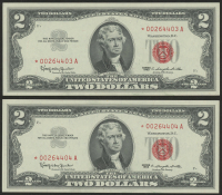 Lot of (2) 1963 $2 Two-Dollar Red Seal United States Legal Tender Star Notes