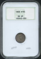 1858-S H10C Seated Liberty Half Dime (NGC MS 63)
