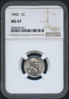 1943 1¢ Steel Cent - Penny (NGC MS 67)
