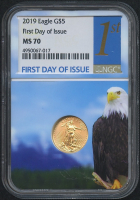 2019 $5 Five Dollars American Gold Eagle Saint-Gaudens 1/10 Oz Gold Coin (First Day of Issue) (NGC MS 70)