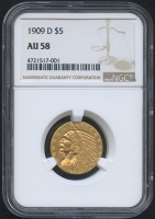 1909-D $5 Five Dollars Indian Head Half Eagle Gold Coin (NGC AU 58)