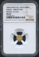 1856-Dated California Gold Coin - Indian - Wreath #4b (NGC MS 66)