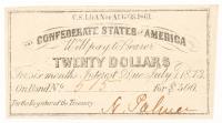 1861 $20 Twenty-Dollar Confederate States of America CSA Bank Note Bond