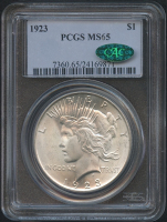 1923 $1 Peace Silver Dollar (PCGS MS 65) (CAC)