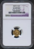 1849-O $1 One Dollar Liberty Head Gold Coin (NGC AU Details)
