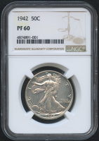1942 50¢ Walking Liberty Silver Half Dollar - Proof (NGC PF 60) at PristineAuction.com