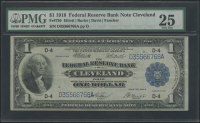 1918 $1 One Dollar U.S. National Currency Large Bank Note - FRBN - The Federal Reserve Bank of Cleveland, Ohio (PMG 25)
