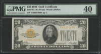 1928 $20 Twenty Dollars U.S. Gold Certificate Currency Bank Note Bill (AA Block) (PMG 40)