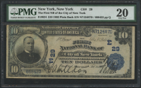1902 $10 Ten Dollars U.S. National Currency Large Size Bank Note - The First National Bank of the City of New York (PMG 20)