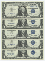 Lot of (5) 1957-B $1 One Dollar U.S. Silver Certificates with Consecutive Serial Numbers (Choice Crisp Uncirculated)