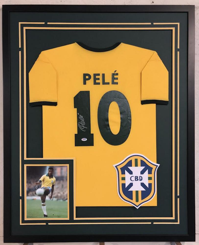 35bf2096a3b Pele Signed Team Brazil 34x42 Custom Framed Jersey (PSA COA)