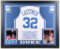 Christian Laettner Signed Duke Blue Devils 35x43 Custom Framed Career Highlight Stat Jersey (JSA COA)